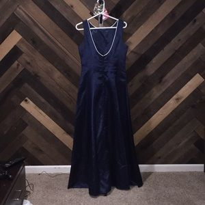 Silky blue deep fitted maxi dress Unite